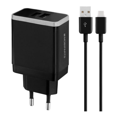 Wall Charger Dual USB 2.4A + USB-C Cable Black - Foto 1