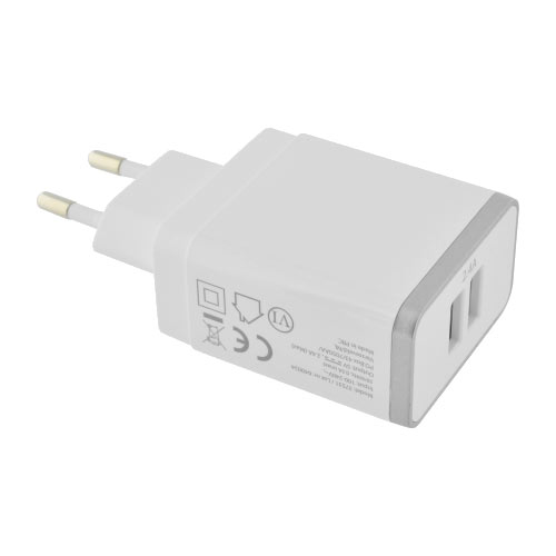 Wall Charger Dual USB 2.4A White - Foto 3