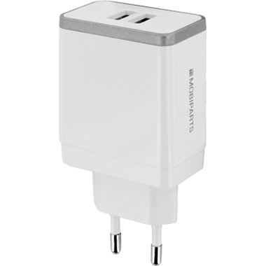 Mobiparts Wall Charger Dual USB 2.4A White